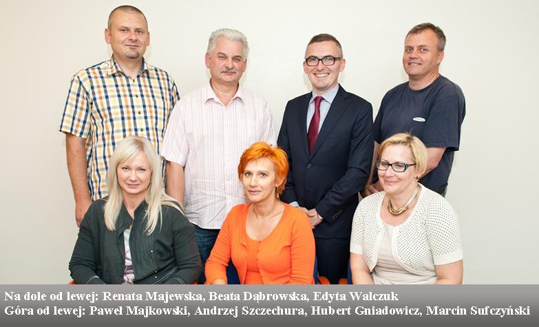 Na dole od lewej: Renata Majewska, Beata Dąbrowska, Edyta Walczuk. Góra od lewej: Paweł Majkowski, Andrzej Szczechura, Hubert Gniadowicz, Marcin Sufczyński.